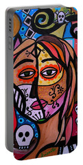 Portable Battery Charger featuring the painting Abstract Day Of The Dead by Pristine Cartera Turkus