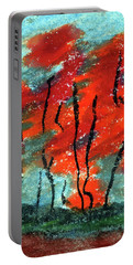 Abstract Design Red Trees Fall Art Portable Battery Charger by R Kyllo