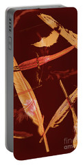 Abstract Feathers Falling On Brown Background Portable Battery Charger