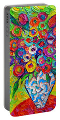 Abstract Flowers Of Happiness Impressionist Impasto Palette Knife Oil Painting By Ana Maria Edulescu Portable Battery Charger