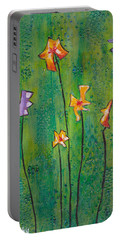 Abstract Flowers Orange, Purple Portable Battery Charger