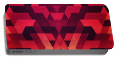 Abstract  Geometric Triangle Texture Pattern Design In Diabolic Future Red Portable Battery Charger