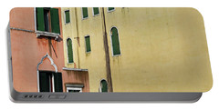 Portable Battery Charger featuring the photograph Abstract Geometric Venetian Buildings In Yellow And Peach by Brooke T Ryan