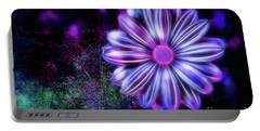 Abstract Glowing Purple And Blue Flower Portable Battery Charger