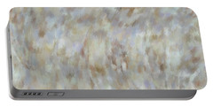 Portable Battery Charger featuring the mixed media Abstract Gold Cream Beige 6 by Clare Bambers