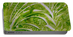Abstract Green And White Leaves And Grass Portable Battery Charger