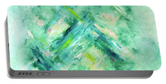 Portable Battery Charger featuring the painting Abstract Green Blue by Cindy Lee Longhini