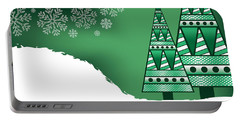 Abstract Green Christmas Trees Portable Battery Charger