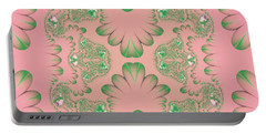 Portable Battery Charger featuring the digital art Abstract In Pink And Green by Linda Phelps
