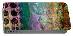 Abstract In Teal And Plum Portable Battery Charger by Desiree Paquette