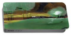 Portable Battery Charger featuring the painting Abstract Landscape by Anil Nene