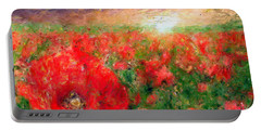 Abstract Landscape Of Red Poppies Portable Battery Charger