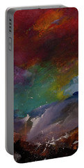 Abstract Landscape Red Bold Color Vertical Painting Portable Battery Charger