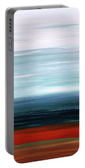 Portable Battery Charger featuring the painting Abstract Landscape - Ruby Lake - Sharon Cummings by Sharon Cummings