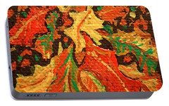 Portable Battery Charger featuring the painting Abstract Leaves by Christina Verdgeline