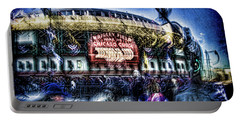 abstract look at the crowd filing in for a Cub's game Portable Battery Charger