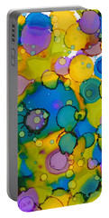 Portable Battery Charger featuring the painting Abstract Microscope Party by Nikki Marie Smith