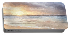 Portable Battery Charger featuring the mixed media Abstract Morning Tide by Anthony Fishburne