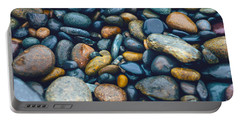 Abstract Nature Tropical Beach Pebbles 923 Blue Portable Battery Charger