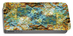 Abstract Nature Tropical Beach Rock Blue Yellow And Orange Macro Photo 472 Portable Battery Charger