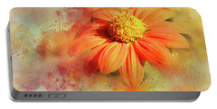 Abstract Orange Flower Portable Battery Charger by Judi Saunders