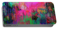Abstract Painting 621 Pink Green Orange Blue Portable Battery Charger