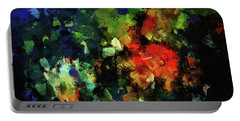 Portable Battery Charger featuring the painting Abstract Painting In Dark Blue Tones by Ayse Deniz
