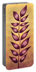 Abstract Plant With Pointy Leaves In Purple And Yellow Portable Battery Charger