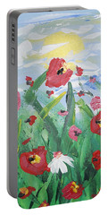Abstract Poppies No 1 Portable Battery Charger by Adam Asar