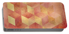 Abstract Red And Gold Geometric Cubes Portable Battery Charger