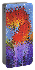 Abstract Red Flowers - Pieces 5 - Sharon Cummings Portable Battery Charger by Sharon Cummings