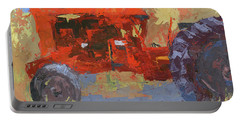 Abstract Red Tractor Portable Battery Charger