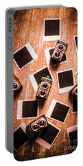 Abstract Retro Camera Background Portable Battery Charger