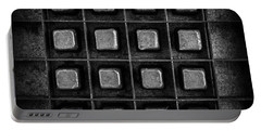 Abstract Squares Black And White Portable Battery Charger