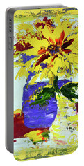 Abstract Sunflower Portable Battery Charger by Lynda Cookson