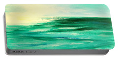 Abstract Sunset In Blue And Green Portable Battery Charger