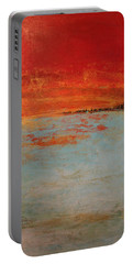 Abstract Teal Gold Red Landscape Portable Battery Charger