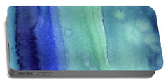 Abstract Vertical Watercolor Aqua Stripes Portable Battery Charger