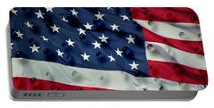 Abstract Water Drops On Usa Flag Portable Battery Charger by Georgeta Blanaru