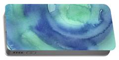 Abstract Watercolor Aqua Blues Portable Battery Charger