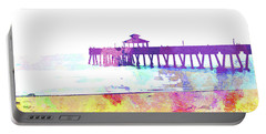 Abstract Watercolor - Pier At Dusk Portable Battery Charger