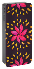 Abstract Whimsical Watercolor Pink Flower Portable Battery Charger