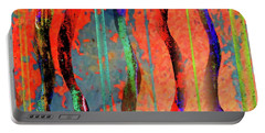 Abstract With Lines And Waves Portable Battery Charger by Desiree Paquette
