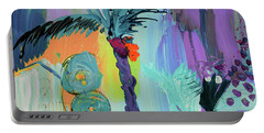 Abtract, Landscape With Palm Tree In California Portable Battery Charger by Amara Dacer