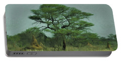 Portable Battery Charger featuring the digital art Acacia Tree And Termite Hills by Ernie Echols