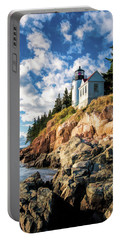 Portable Battery Charger featuring the painting Acadia Bass Harbor Lighthouse by Christopher Arndt