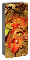 Acorns Fall Maple Leaf Portable Battery Charger by Meta Gatschenberger