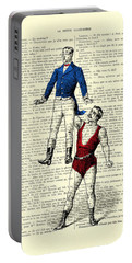 Circus Acrobats In Red And Blue Dictionary Art Print Portable Battery Charger