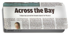 Portable Battery Charger featuring the painting Toronto Sun Article Across The Bay by Kenneth M Kirsch