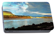 Portable Battery Charger featuring the photograph Across The Liard by Marty Koch